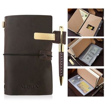 NUOLUX Classic Refillable Leather Journal Antique Writing Notebook Genuine Leather Refillable Diary with Pen and Pen Holder for Writing