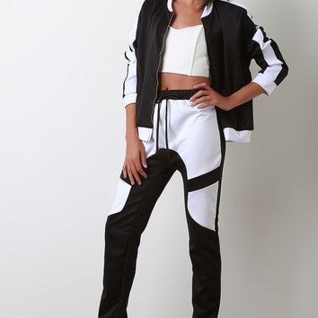 Contrast Panel Zip Up with Track Pants