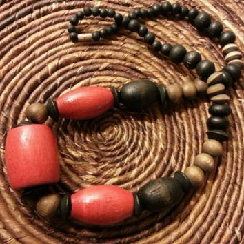 Vintage Chunky Graduated Wood Necklace - Red, Black and Brown Wooden Beads - 24 inch Wooden Necklace - Vintage Boho Statement Necklace