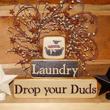 Country Blocks   Laundry Drop you Duds by RUSTICNORTHERN on Etsy