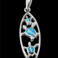 INLAY OPAL STERLING SILVER 925 HAWAIIAN CUT OUT HONU TURTLE SURFBOARD PENDANT
