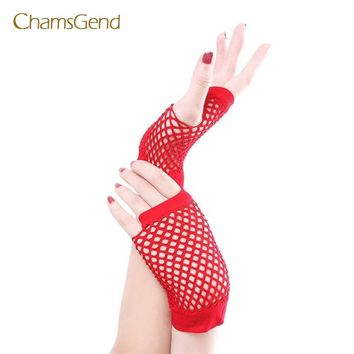 CHAMSGEND 2017  Fashion,beautiful,Punk Goth Lady Disco Dance Costume Lace Fingerless Mesh Fishnet Gloves May24