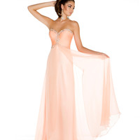 Mac Duggal Prom 2013 - Strapless Peach Gown With Sequin - Unique Vintage - Cocktail, Pinup, Holiday & Prom Dresses.