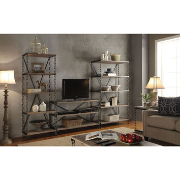 Jodie Rustic Oak and Antique Black TV Stand | Overstock.com Shopping - The Best Deals on Entertainment Centers