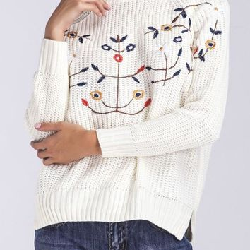 White Embroidery Side Slit oversize Casual Pullover Sweater
