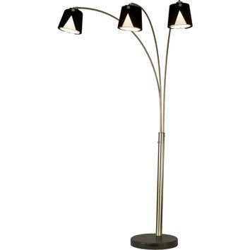 Fold 3 Light Arc Lamp Brushed Nickel & Black Marble Dark Brown & Frost Glass Shades
