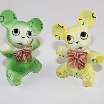 Yellow and Green Teddy Bear Salt and Pepper Set, Made in Japan