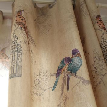 American Rustic Style Bird Printed Curtains (Single Panel)