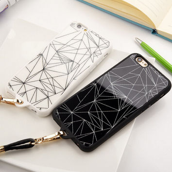 Cool Geometry iPhone 5s 6 6s Plus Case Cover + Leather Rope Gift-121