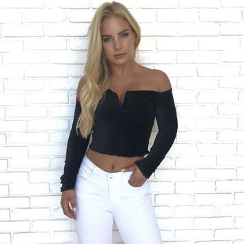 There Is Always Us Black Off Shoulder Crop Top