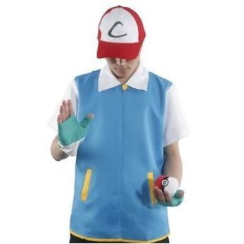 Free shipping high quality pokemon ash ketchum trainer cosplay costume blue short sleeve Jacket Gloves Hat Ash Ketchum Costume