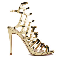 Caged Heeled Sandals - Gold
