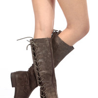 Brown Faux Suede Knee High Distressed Boots
