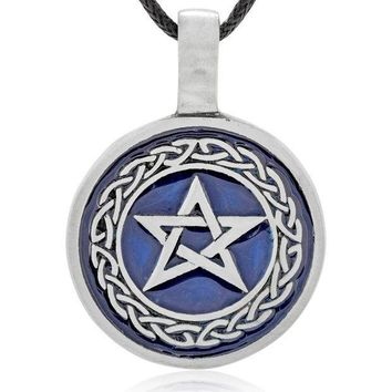 CREYXT3 Dan's Jewelers Blue Star Pentagram Necklace Pendant with Celtic Knot Design, Fine Pewter Jewelry
