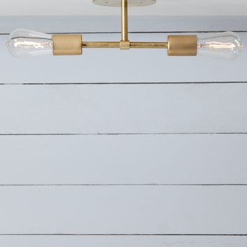 Double Brass Semi Flush Mount - Ceiling Light