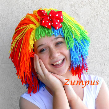 Clown Wig, Halloween Costume, Orange Red Green Yellow Purple Blue, Red Polka Dot Bow, Womens Doll Wig