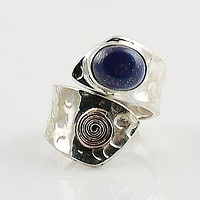 Lapis Sterling Silver Copper Spiral Adjustable Ring