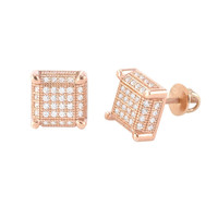 Mens Womens Studs Screwback Earrings Rose Gold Plated Micropave CZ 9mm Square 3d