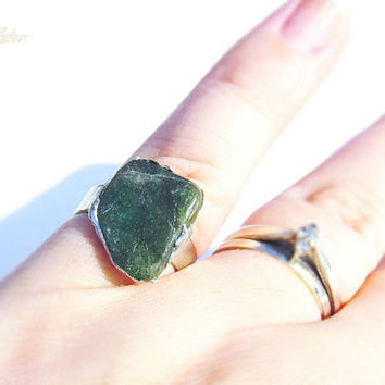 Green Agate Ring - Agate Ring - Natural Stone - Uncut Stone - Handmade Ring - Soldered Ring - Solder Gemstone - One of a Kind Rings