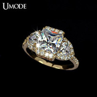 Cubic Zirconia Engagement Ring CZ Engagement Ring Princess Cut Diamond Ring Gold Ring Halo Engagement Ring Wedding Ring Anniversary Ring