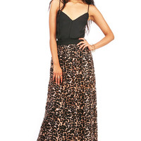Crosscut Leopard Maxi Dress