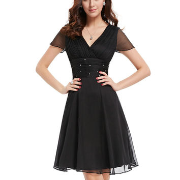 Cocktail Dresses EP03882BK Short Sleeve V Neck Lace Ruched Bust Chiffon Special Occasion