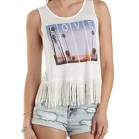 Beach Graphic Fringe Tank Top by Charlotte Russe