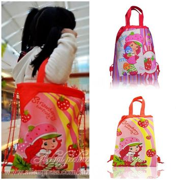 Strawberry Shortcake Girls Drawstring Backpacks School Shopping Bags 34*27CM Non Woven Fabrics Kids Xmas Party Gift