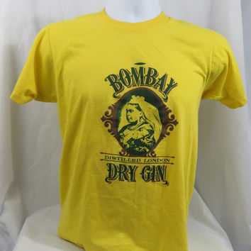 Vintage 80s Screen Stars Bombay Dry Gin Distilled London Yellow T Shirt SMALL