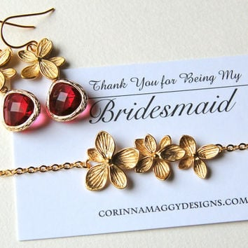 Bridesmaid or Maid of Honor Gift Set, customizable color and quantity, bracelet and matching earrings set, wedding jewelry, bridal jewlery,