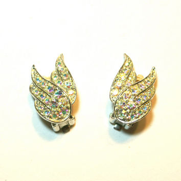Rhinestone Wing Earrings by Sarah Coventry Birds of Paradise Iridescent Aurora Borealis Silver Tone Clip Ons