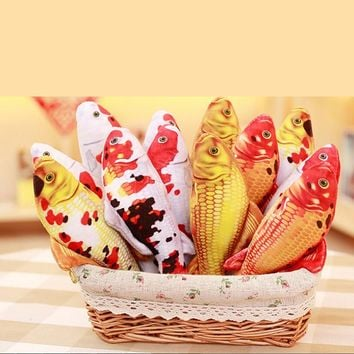 Cat Toy Plush 3d Carp Fish Shape Cat Toy Gift Cute Simulation Fish Scratcher Toy For Pet Gifts Catnip Fish Stuffed Pillow Doll