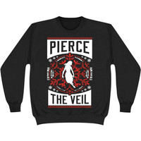 Pierce The Veil Men's  Holiday Red Sweatshirt Black Rockabilia