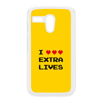 I Love Extra Lives White Hard Plastic Case for Moto G by Chargrilled