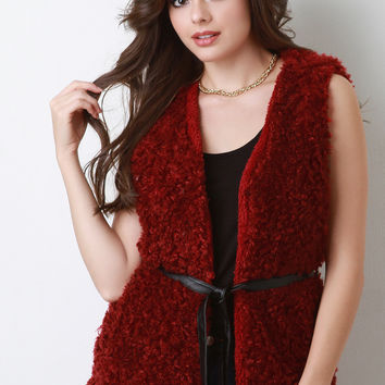 Faux Shearling Belted Vest