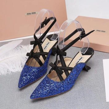 Prada Miu Miu Glitter Sling-back Pumps Blue - Best Deal Online