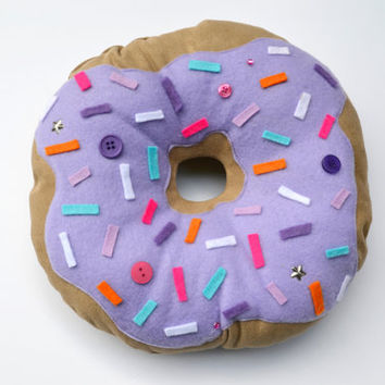 Purple Doughnut Plush - Handmade kawaii pillow - food plush