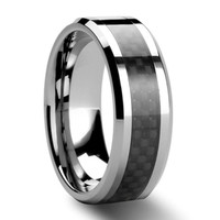 Men's Black Carbon Fiber Tungsten Carbide Ring Wedding Band Size 6 - 12