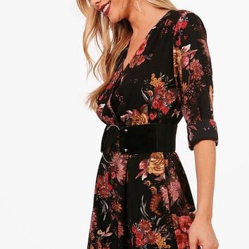 Holly Floral Wrap Midaxi Dress | Boohoo