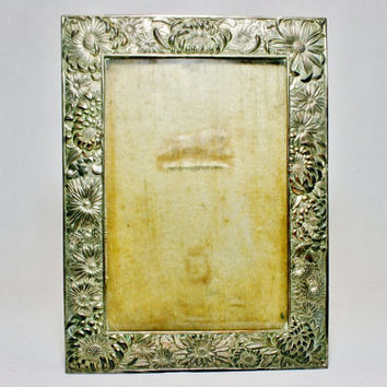 Antique Japanese Signed Silverplate over Copper Flower Bouquet Photo Picture Frame Early 1900s Era Signed By Maker
