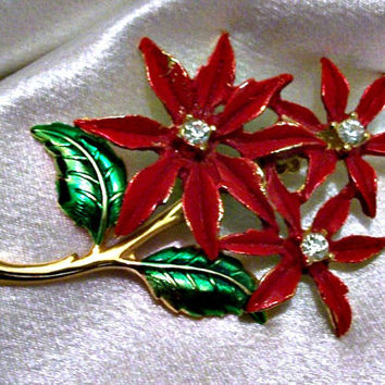 Poinsettia Flower Holiday Pin Brooch