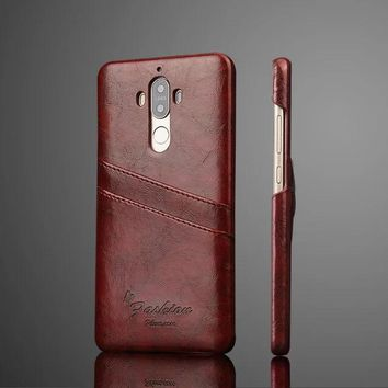 For Huawei Mate 9 Case Luxury Vintage Ultra-thin Back Cover With Card Slots PU Leather Cases For Huawei Mate 9 Phone Accessories