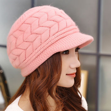 Free Shipping New Women Winter Warm Knit Hat Wool Snow Ski Caps With Visor