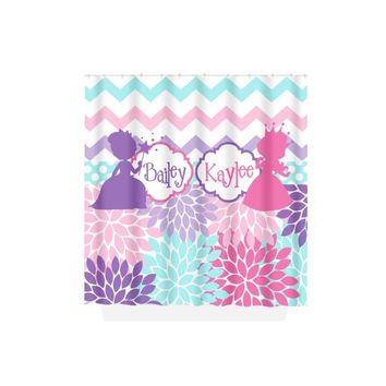 Princess SHOWER CURTAIN, Sister Bathroom, Girl Monogram Personalized, Pink Purple Decor, Shared Sister Bath, Bath Towel,  Bath Mat