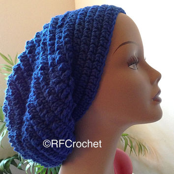 Royal Blue Beanie | Adult Crochet Beanie | Blue Slouchy Beanie | Blue Crochet Hat | Bad Hair Day | Slouchy Hat | Long Hair | Dreads