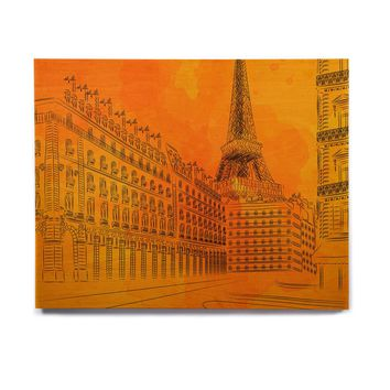"Fotios Pavlopoulos ""Parisian Sunsets"" Orange City Birchwood Wall Art"