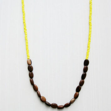 Long Beaded Wood & Yellow Bead Necklace - Wooden beads and Yellow glass beads - Silk and Sterling Silver