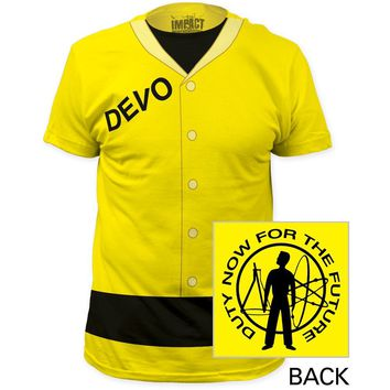 Devo Costume T-shirt - Devo Radiation Suit with Duty Now for the Future Album Cover Artwork. Men's Yellow Shirt