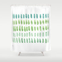 watercolor blue green no.1 Shower Curtain by Misty Diller of Misty Michelle Design