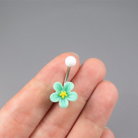 Mint green Small Plum flowers belly button jewelry ring,flower belly ring,Belly Button Jewelry,summer jewelry,girlfriend gift